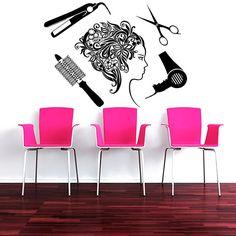 Wall Decal Vinyl Sticker Decals Art Home Decor Design Mural Floral Hair Beauty Salon Flowers Girl Accessories Scissors Fashion Women