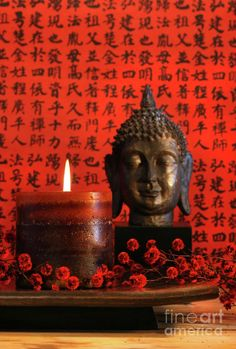 Asian candle with red orential background Photograph by Sandra Cunningham - Asian candle with red orential background Fine Art Prints and Posters for Sale