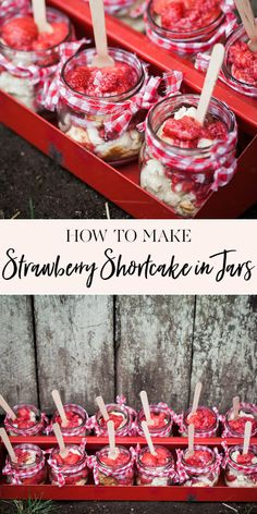 One of my favorite summer desserts is strawberry shortcake. They're the cutest addition to a summer dessert table or make a darling treat to bring to a summer bbq. I love to serve mine in Bbq Desserts, Easy No Bake Desserts, Cheesecake Desserts, Summer Desserts, Delicious Desserts, Dessert Recipes, Jar Recipes, Summer Treats, Dessert Ideas
