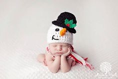 Baby Boy Hat SNOWMAN or Reindeer Newborn by JerribeccaHats2, $29.99