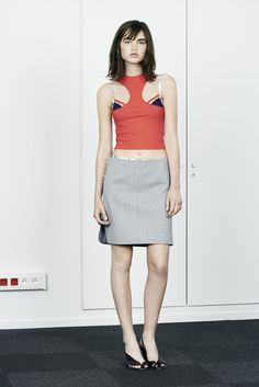 Paco Rabanne | Resort 2015 | 01 Red strappy cropped top and grey mini skirt
