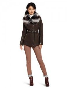 Miss Sixty Women's Fran Jacket, Gunmetal, Medium. Asymetrical zip front wool jacket, novelty silver zippers on sleeves and pockets. Miss Sixty, Faux Fur Collar, Coats For Women, Wool Blend, Women Accessories, Wool Jackets, Wool Coats, Leather Jacket, Style Inspiration