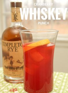 Kick off your holiday party with this Cranberry Whiskey Punch made with Templeton Rye Whiskey. Templeton Whiskey is made in one of my favorite states, Iowa!