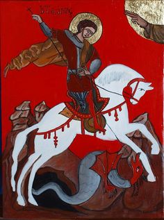 St. George and the Dragon religious icon handmade by angelicon, €62.00