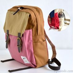 New Contrast Color Canvas College Backpacks