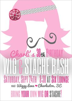 Stache Bash {5x7}-wig and mustache bash, wig and stache party invite, stache bash, stach bash invite, party box design, party decor, 30th birthday invites, mustach party invitations, wig party invite