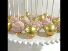 Upside down pink & gold Cakepops with flat bottom base and stripes/swirls design - YouTube