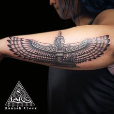 Tattoo by Hannah Clock. To see more of Hannah's work, check out his online portfolio: http://www.larktattoo.com/long-island-team-homepage/hannah-clock/ tattoo, Egyptian, black and gray, Cleopatra