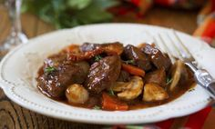 French Boeuf en Daube with mushroom and orange. This is a beef bourguignon .Cognac is a type of brandy. You can use other brandy besides cognac. You could also substitute red wine (one you'd want to drink or beef broth. Crock Pot Recipes, Roast Recipes, Slow Cooker Recipes, Cooking Recipes, Healthy Recipes, Pureed Recipes, Dinner Recipes, Healthy Meals, Bariatric Eating