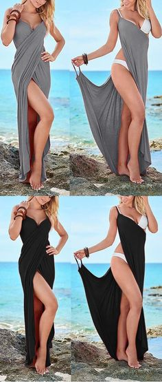 $23.99 USD Summer V Neck Asymmetrical Beach Maxi Dresses
