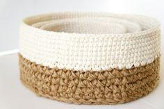 Stacking Baskets Crochet Pattern Rustic Home Decor por JaKiGu