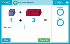 Iknowit.com has math practice lessons for all elementary grade levels. Try any of them for free, including this new kindergarten addition lesson!