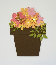 flower pot card Flower Vases, Flower Pots, Flowers, Shaped Cards, Birthday Cards, Planter Pots, Projects To Try, Card Making, Anna