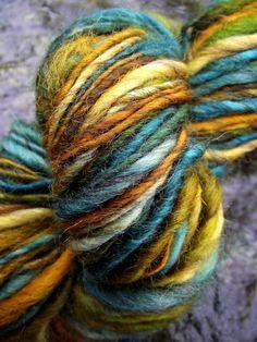 Handspun yarn handpainted