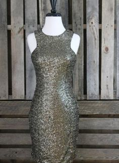 gold sequin dress #bodycon #partydress #sequins