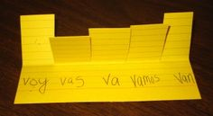 verb study card foldable (write subject pronouns on flaps and verb conjugations below flaps)