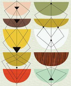 New design geometric pattern mid century Ideas Motifs Textiles, Textile Patterns, Print Patterns, Geometric Patterns, Geometric Art, Modern Patterns, Japanese Patterns, Floral Patterns, Mid Century Art