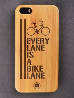 Buy Every Lane Is A Bike Lane Cycling Engraved Wooden Smartphone Case Online for Bombay Trooper, Wooden Phone Case, Bamboo Cutting Board, Cycling, Smartphone, Iphone Cases, Bike, Bicycle, Biking