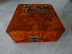 Antique Cadbury's Box with Handle Orange Velvet Chocolate Cocoa Presentation Box | eBay