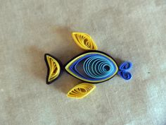 Handmade Scrapbook Card Supply Embellishment Fish Tropical Blue Black Yellow Paper Quilled -- Etsy.