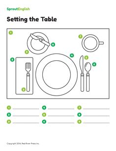 This free worksheet and activity combines listening, vocabulary, and grammar practice. Review prepositions of place as you teach your students how to set the table for a feast!