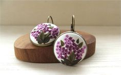 Lilac Floral Earrings Polymer Clay Applique Jewelry Lilac Flower Dangle Earrings Bridesmaid Jewelry Flower Earrings MADE TO ORDER
