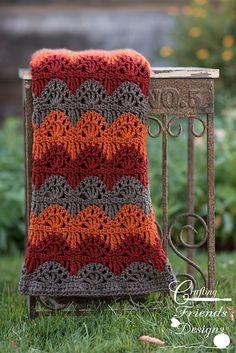 Add the beautiful colors of fall to any room with this fun Ripple Lace Afghan. This crochet pattern is fun and quick to work up. The waves add just the right touch of the season and a warm and comforting feeling.