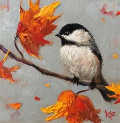 """Daily Paintworks - """"Fall Chick"""" - Original Fine Art for Sale - © Krista Eaton Small Canvas Paintings, Simple Acrylic Paintings, Animal Paintings, Bird Paintings, Bird Painting Acrylic, Watercolor Bird, Christmas Tree Painting, Winter Painting, Cubist Art"""