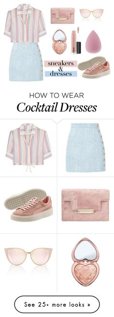 """""""sneaker & dresses"""" by sonianguyen98 on Polyvore featuring Balmain, Solid & Striped, Too Faced Cosmetics and MAC Cosmetics"""