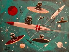 CaTs in outerSpace Retro Kunst, Retro Art, Mid Century Modern Art, Mid Century Art, Vintage Posters, Vintage Art, Gatos Cat, Space Cat, Retro Futurism