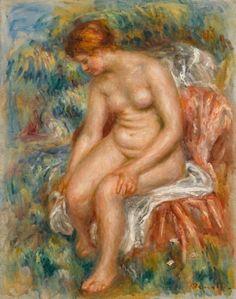 Auguste Renoir (1841-1919) Baigneuse assise s'essuyant une jambe Vers 1914 Huile sur toile H : 51cm, L : 41cm Signé en bas à droite en rouge : Renoir. Musée de l'Orangerie