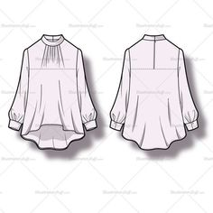 Smock Blouse Fashion Flat Template