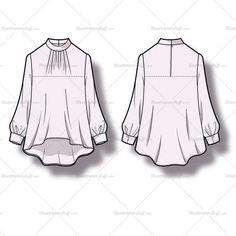Smock Blouse Fashion Flat Template