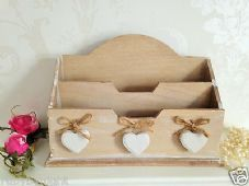 Wood Letter Rack With Heart Charms