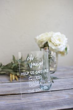 Oh Snap! instagram photo booth instax wedding sign. Hand painted on unbreakable clear acrylic. Ready to ship!