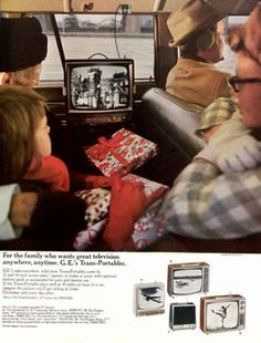 "Who knew TV in the car was not a millennial invention? 1966 ad for G.E. ""trans-portables."" The Saturday Evening Post."