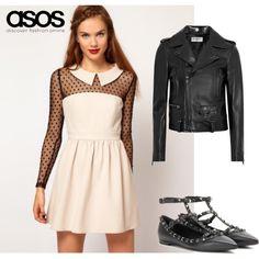 Vestido de plumeti, de Asos. Talla XS. Color: Beige / Negro