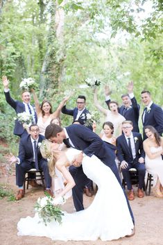 dip and kiss wedding party photo