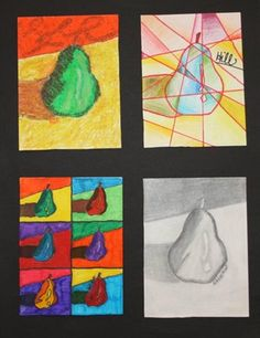 Students created four versions of their chosen fruit. The Leonardo da Vinci style fruit is drawn with pencil and charcoal as realistically as possible. Another fruit is in the style of Vincent van Gogh and was drawn with oil pastels using very short brushstrokes and complementary colors for shading. The next fruit, in the style of Picasso's cubism, is very geometric and colored with colored pencil gradations. The final fruit is inspired by the pop art of Andy Warhol, reproduced six times and…