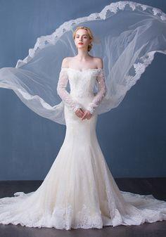 Robe de Mariée Col en Coeur-Robe De Mariage élégantes 2016 Sirène De L\'épaule…