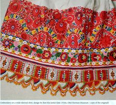 FolkCostume&Embroidery: Costume and Embroidery of Mezőkövesd, Hungary Hungarian Embroidery, Folk Embroidery, Shirt Embroidery, Learn Embroidery, Chain Stitch Embroidery, Embroidery Stitches, Embroidery Patterns, Folklore, Stitch Head
