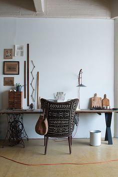 La Maison Boheme studio, sewing tables, offic, chair upholstery, design, old sewing machines, table legs, desk chairs, workspac