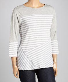 Look what I found on #zulily! Heather Gray & White Stripe Top - Plus by Allie & Rob #zulilyfinds