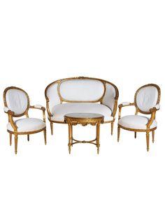 """A Fine 19th Century Six-piece Gilt Salon Set """"Louis XVI Revival"""""""