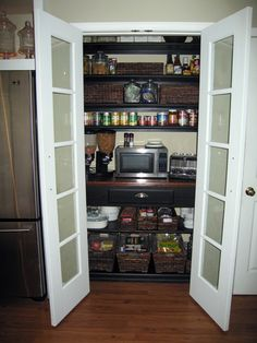 Shallow pantry - French doors with frosted glass. <---- replace slats in…