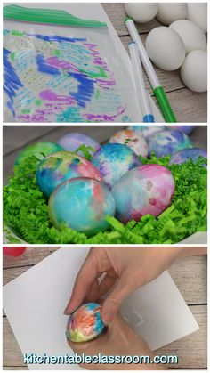 Learn how to decorate Easter eggs using washable markers and a recycled plastic bag plus two more easy egg decorating ideas! craft How to Decorate Easter eggs with Washable Markers- 3 Easy Ways - The Kitchen Table Classroom Making Easter Eggs, Easter Egg Dye, Coloring Easter Eggs, Easter Crafts For Kids, Easter Party, Easter Food, Bunny Crafts, Easter Dinner, Easter Table