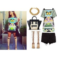 A fashion look from June 2013 featuring print tunic, Siwy and jean shorts. Browse and shop related looks. Louis Vuitton Twist, Rihanna, Jean Shorts, Fashion Looks, Tunic, Shoulder Bag, Polyvore, Bags, Shopping