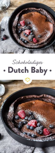 Schoko Dutch Baby - Another! Dutch Recipes, Sweet Recipes, Baking Recipes, Dessert Recipes, Bread Recipes, Peanut Butter Banana Bread, Delicious Desserts, Yummy Food, Mexican Breakfast Recipes