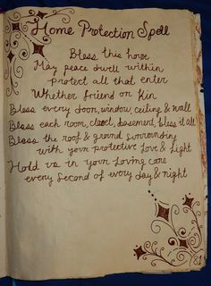 Kelsey's Craft Corner: Spell book pages from my DIY spell book; Spells: Home Protection Wiccan Spell Book, Magick Book, Wiccan Witch, Magick Spells, Witch Spell, Wicca Witchcraft, Witch Rituals, Protection Spells, Home Protection