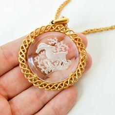 vintage capricorn ram zodiac necklace by RockAndRollVintage, $34.00